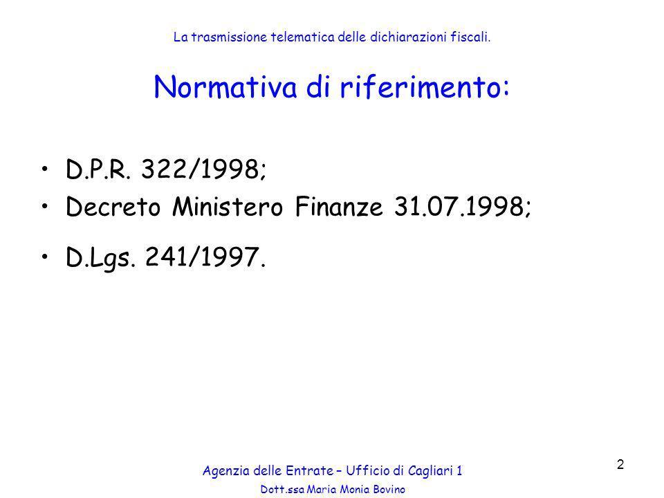 Dott.ssa Maria Monia Bovino 53 Agenzia delle Entrate – Ufficio di Cagliari 1 La trasmissione telematica delle dichiarazioni fiscali.
