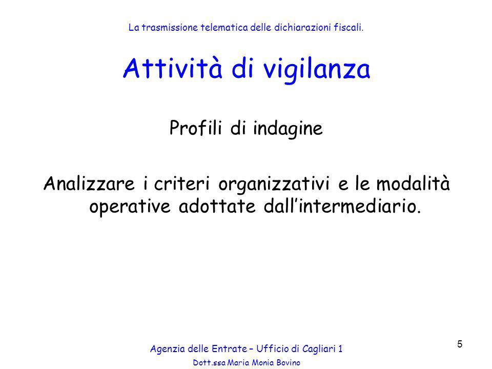 Dott.ssa Maria Monia Bovino 56 Analisi attività Audit Esterno Categorie di soggetti controllati Agenzia delle Entrate – Ufficio di Cagliari 1 La trasmissione telematica delle dichiarazioni fiscali.