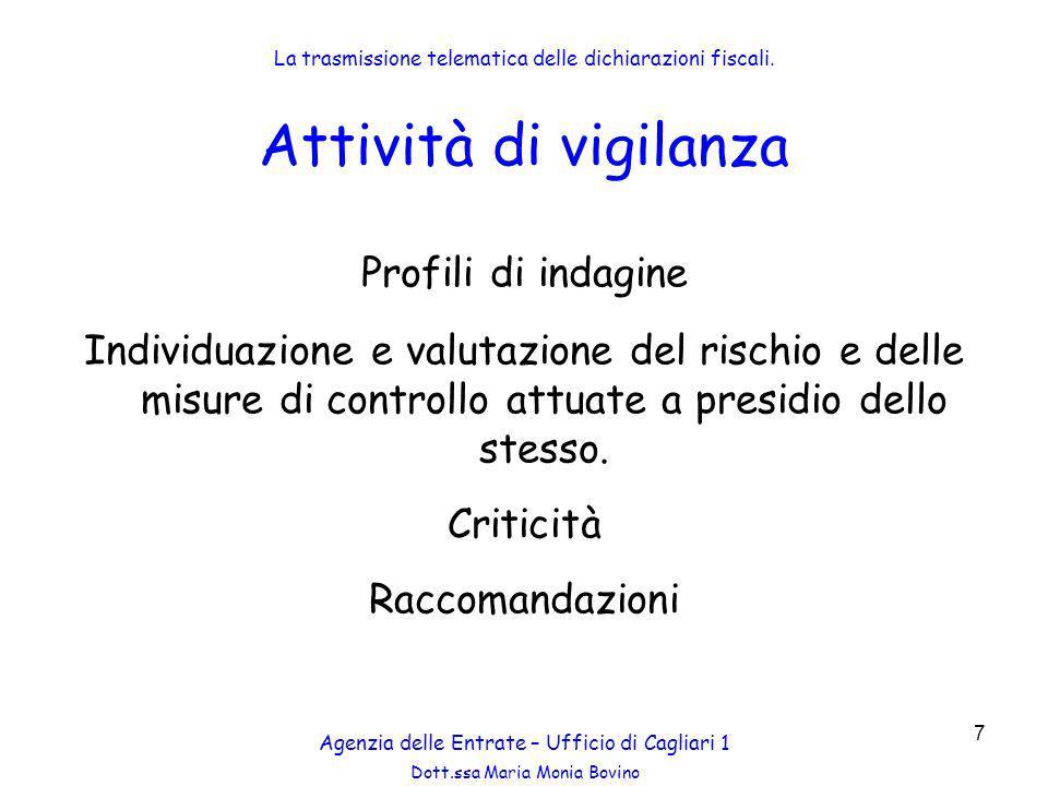 Dott.ssa Maria Monia Bovino 18 Attività di vigilanza Comunicazione allintermediario: Concordare la data dellaccesso; Comunicare le dichiarazioni di cui è necessario il riscontro.
