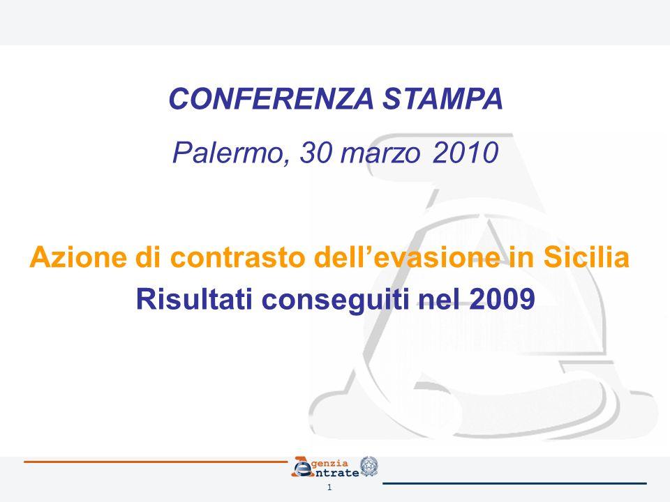 1 Azione di contrasto dellevasione in Sicilia Risultati conseguiti nel 2009 CONFERENZA STAMPA Palermo, 30 marzo 2010