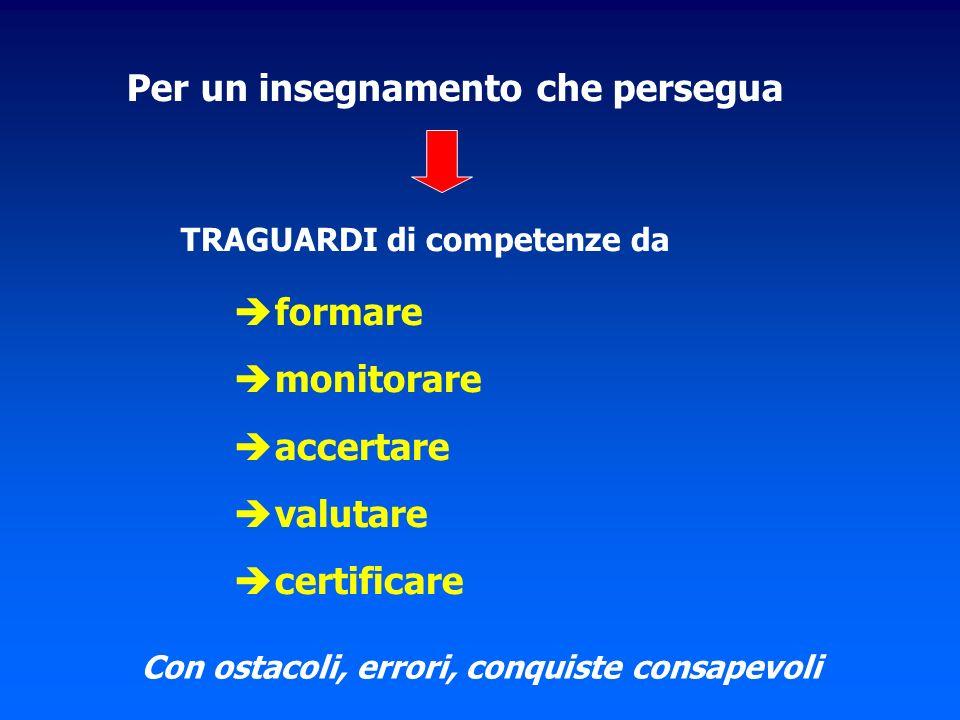 Per un insegnamento che persegua TRAGUARDI di competenze da formare monitorare accertare valutare certificare Con ostacoli, errori, conquiste consapevoli
