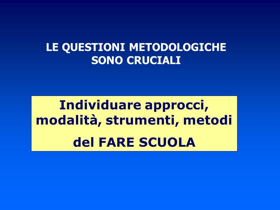 LE QUESTIONI METODOLOGICHE SONO CRUCIALI Individuare approcci, modalità, strumenti, metodi del FARE SCUOLA