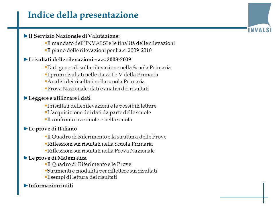 Indice della presentazione Il Servizio Nazionale di Valutazione: Il mandato dellINVALSI e le finalità delle rilevazioni Il piano delle rilevazioni per la.s.
