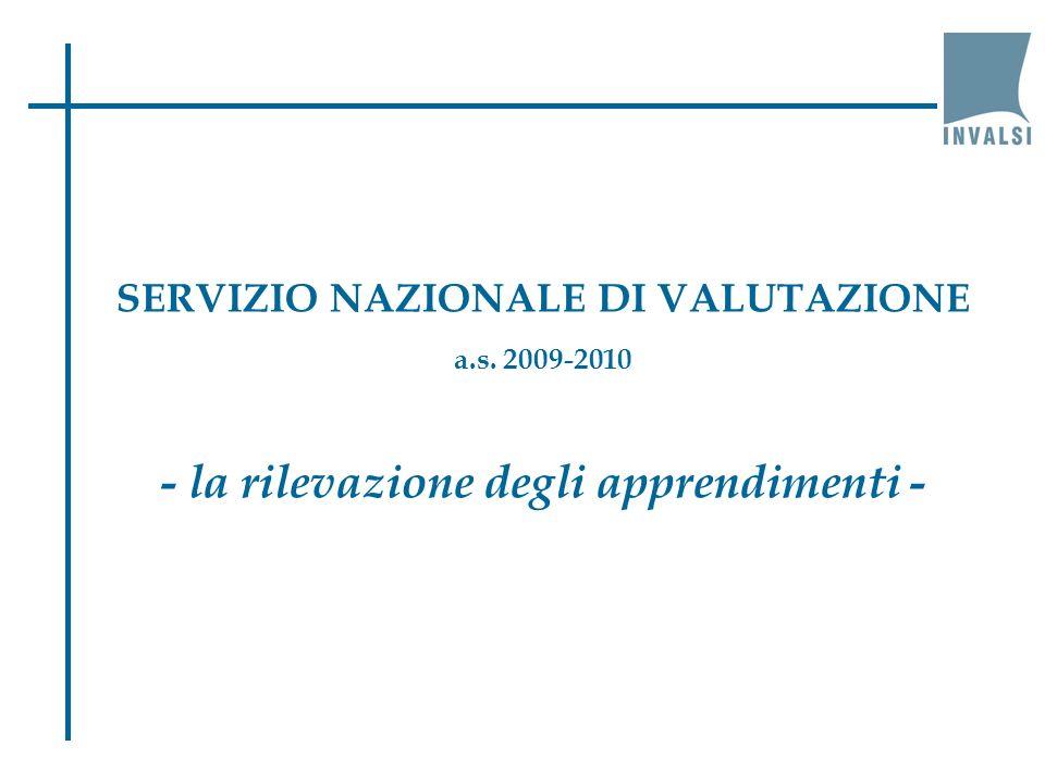 SERVIZIO NAZIONALE DI VALUTAZIONE a.s. 2009-2010 - la rilevazione degli apprendimenti -