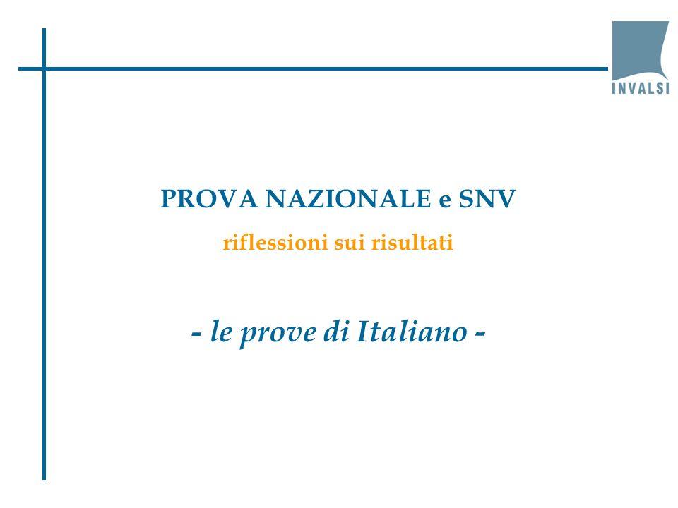 PROVA NAZIONALE e SNV riflessioni sui risultati - le prove di Italiano -