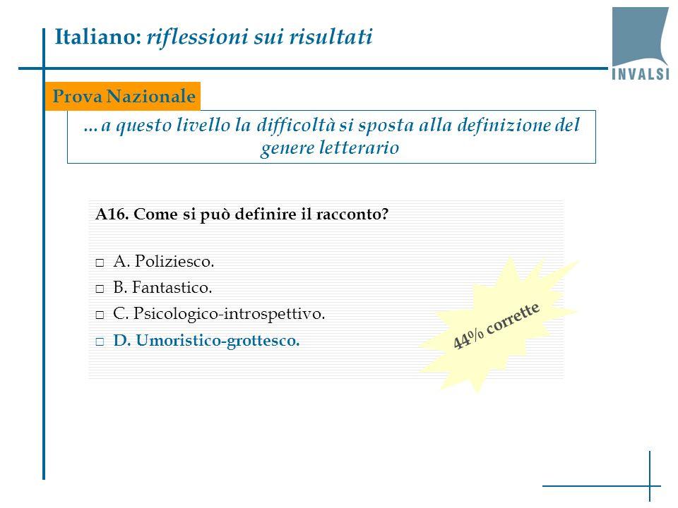 Italiano: riflessioni sui risultati …a questo livello la difficoltà si sposta alla definizione del genere letterario Prova Nazionale A16.