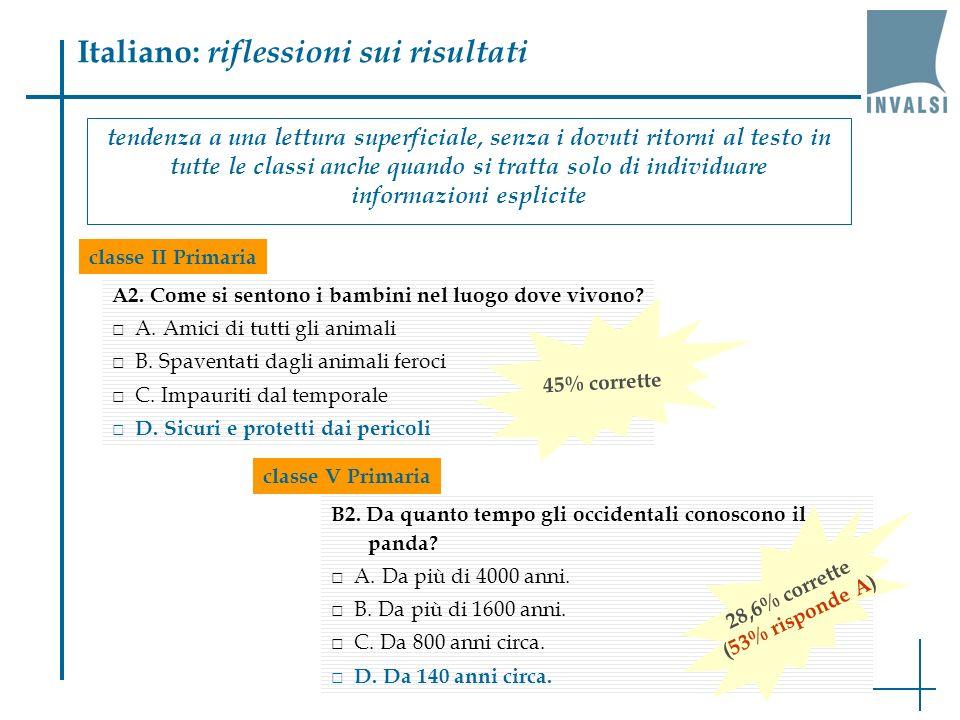 Italiano: riflessioni sui risultati tendenza a una lettura superficiale, senza i dovuti ritorni al testo in tutte le classi anche quando si tratta solo di individuare informazioni esplicite.