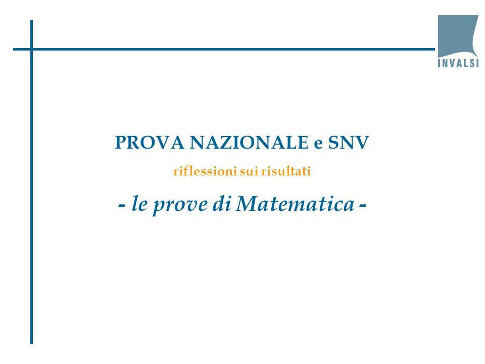 PROVA NAZIONALE e SNV riflessioni sui risultati - le prove di Matematica -