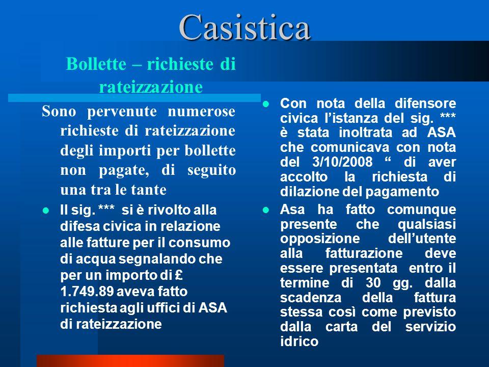 Casistica Sono pervenute numerose richieste di rateizzazione degli importi per bollette non pagate, di seguito una tra le tante Il sig.