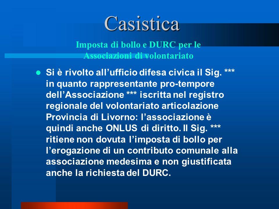 Casistica Si è rivolto allufficio difesa civica il Sig.