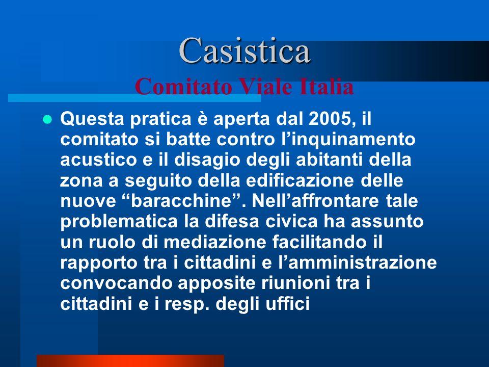 Casistica Casistica Comitato Viale Italia Questa pratica è aperta dal 2005, il comitato si batte contro linquinamento acustico e il disagio degli abitanti della zona a seguito della edificazione delle nuove baracchine.