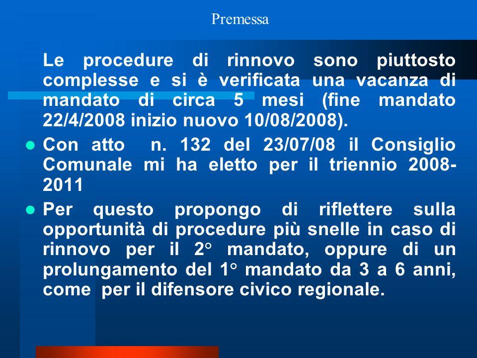 Le procedure di rinnovo sono piuttosto complesse e si è verificata una vacanza di mandato di circa 5 mesi (fine mandato 22/4/2008 inizio nuovo 10/08/2008).