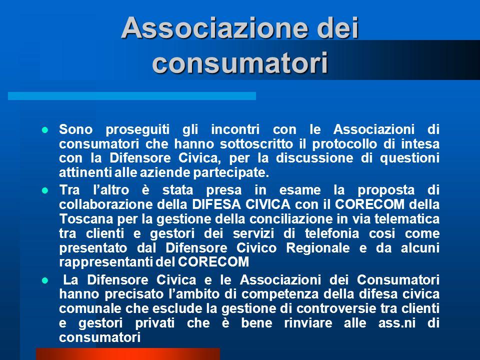 Associazione dei consumatori Sono proseguiti gli incontri con le Associazioni di consumatori che hanno sottoscritto il protocollo di intesa con la Difensore Civica, per la discussione di questioni attinenti alle aziende partecipate.