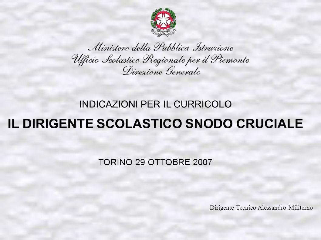 INDICAZIONI PER IL CURRICOLO IL DIRIGENTE SCOLASTICO SNODO CRUCIALE TORINO 29 OTTOBRE 2007 Dirigente Tecnico Alessandro Militerno