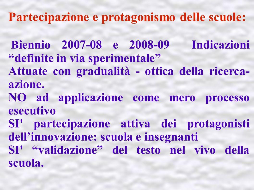 Partecipazione e protagonismo delle scuole: B iennio 2007-08 e 2008-09 Indicazioni definite in via sperimentale Attuate con gradualità - ottica della