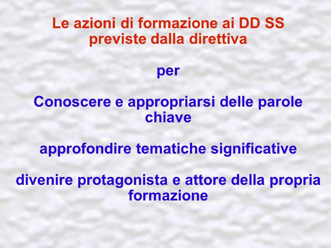Le azioni di formazione ai DD SS previste dalla direttiva per Conoscere e appropriarsi delle parole chiave approfondire tematiche significative divenire protagonista e attore della propria formazione