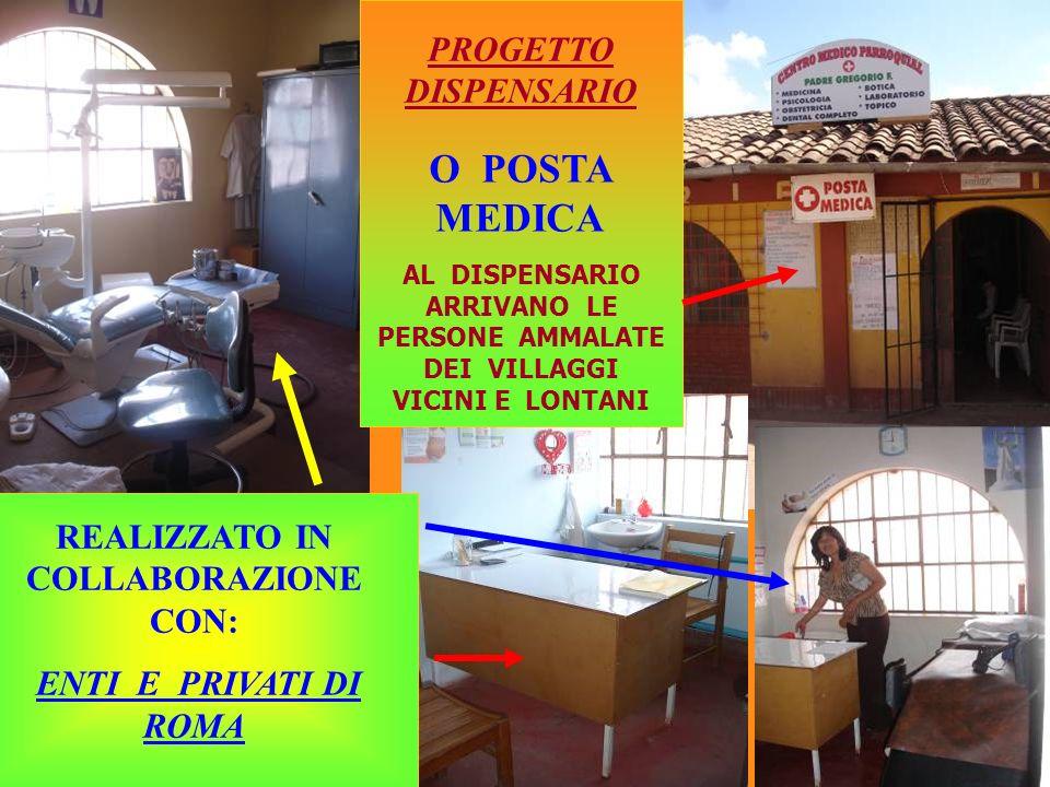 PROGETTO DISPENSARIO REALIZZATO IN COLLABORAZIONE CON: ENTI E PRIVATI DI ROMA O POSTA MEDICA AL DISPENSARIO ARRIVANO LE PERSONE AMMALATE DEI VILLAGGI