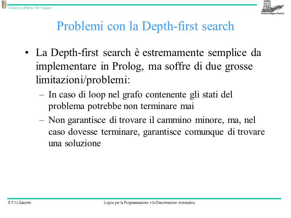 © F.M.ZanzottoLogica per la Programmazione e la Dimostrazione Automatica University of Rome Tor Vergata La Depth-first search è estremamente semplice