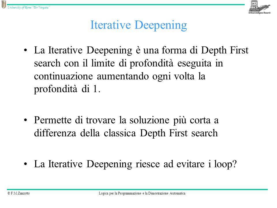 © F.M.ZanzottoLogica per la Programmazione e la Dimostrazione Automatica University of Rome Tor Vergata La Iterative Deepening è una forma di Depth Fi