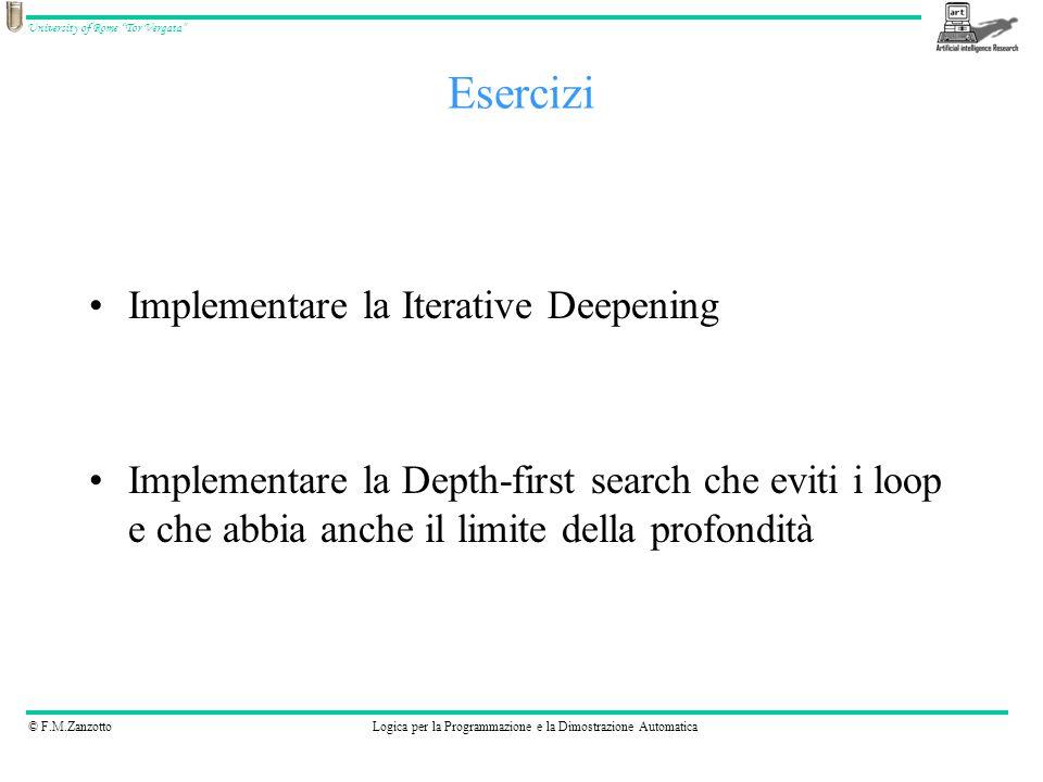 © F.M.ZanzottoLogica per la Programmazione e la Dimostrazione Automatica University of Rome Tor Vergata Implementare la Iterative Deepening Implementa
