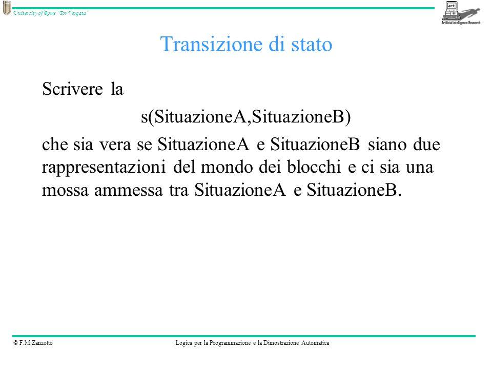 © F.M.ZanzottoLogica per la Programmazione e la Dimostrazione Automatica University of Rome Tor Vergata Transizione di stato Scrivere la s(SituazioneA
