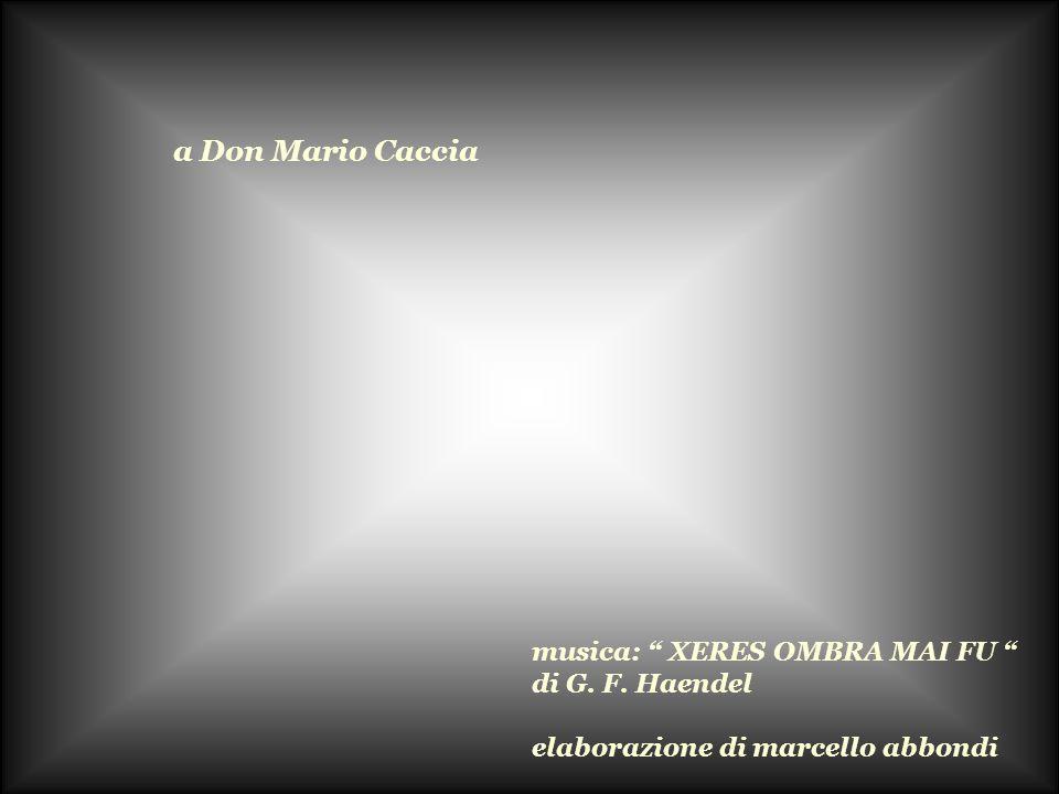 a Don Mario Caccia musica: XERES OMBRA MAI FU di G. F. Haendel elaborazione di marcello abbondi