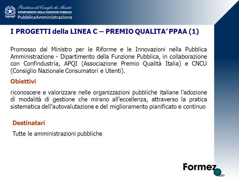 I PROGETTI della LINEA C – PREMIO QUALITA PPAA (1) Promosso dal Ministro per le Riforme e le Innovazioni nella Pubblica Amministrazione - Dipartimento della Funzione Pubblica, in collaborazione con Confindustria, APQI (Associazione Premio Qualità Italia) e CNCU (Consiglio Nazionale Consumatori e Utenti).