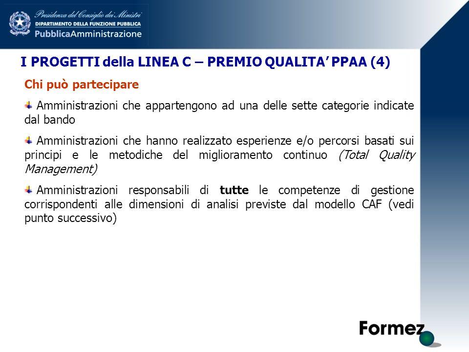 I PROGETTI della LINEA C – PREMIO QUALITA PPAA (4) Chi può partecipare Amministrazioni che appartengono ad una delle sette categorie indicate dal band