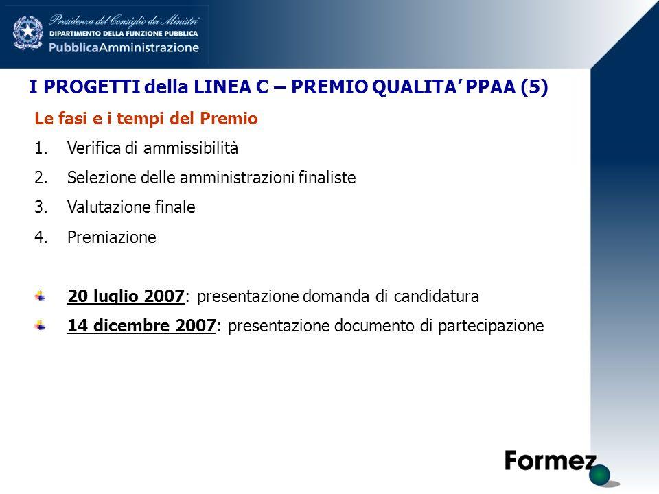 I PROGETTI della LINEA C – PREMIO QUALITA PPAA (5) Le fasi e i tempi del Premio 1.Verifica di ammissibilità 2.Selezione delle amministrazioni finalist