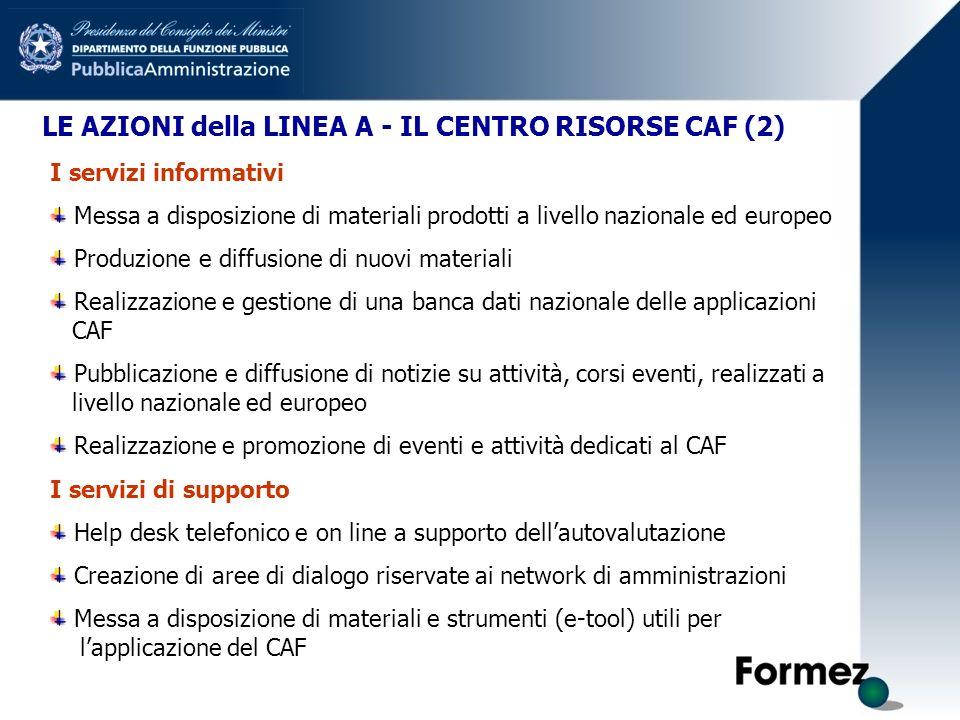 LE AZIONI della LINEA A - IL CENTRO RISORSE CAF (2) I servizi informativi Messa a disposizione di materiali prodotti a livello nazionale ed europeo Pr