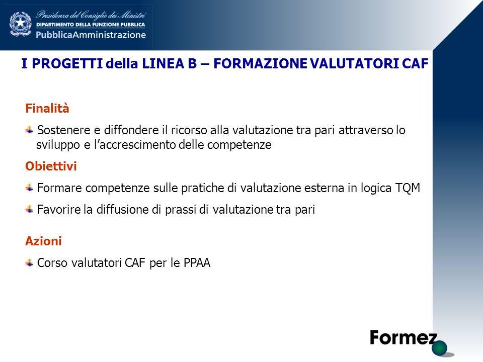 I PROGETTI della LINEA B – FORMAZIONE VALUTATORI CAF Finalità Sostenere e diffondere il ricorso alla valutazione tra pari attraverso lo sviluppo e lac