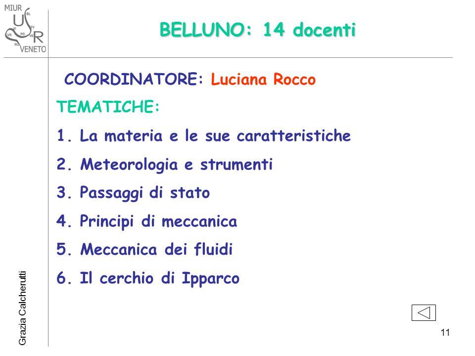 Grazia Calcherutti 11 BELLUNO: 14 docenti COORDINATORE: Luciana Rocco TEMATICHE: 1.La materia e le sue caratteristiche 2.Meteorologia e strumenti 3.Passaggi di stato 4.Principi di meccanica 5.Meccanica dei fluidi 6.Il cerchio di Ipparco