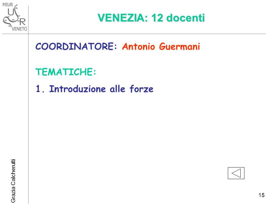 Grazia Calcherutti 15 VENEZIA: 12 docenti COORDINATORE: Antonio Guermani TEMATICHE: 1.Introduzione alle forze