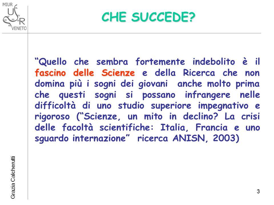 Grazia Calcherutti 3 CHE SUCCEDE? fascino delle Scienze Quello che sembra fortemente indebolito è il fascino delle Scienze e della Ricerca che non dom