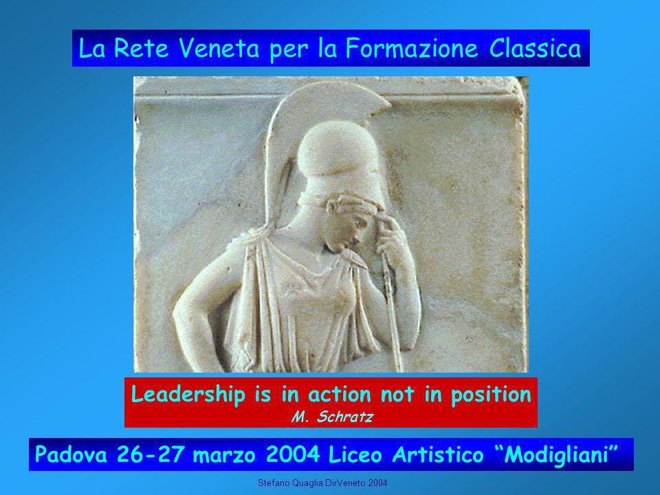 Stefano Quaglia DirVeneto 2004 La Rete Veneta per la Formazione Classica Padova 26-27 marzo 2004 Liceo Artistico Modigliani Leadership is in action not in position M.