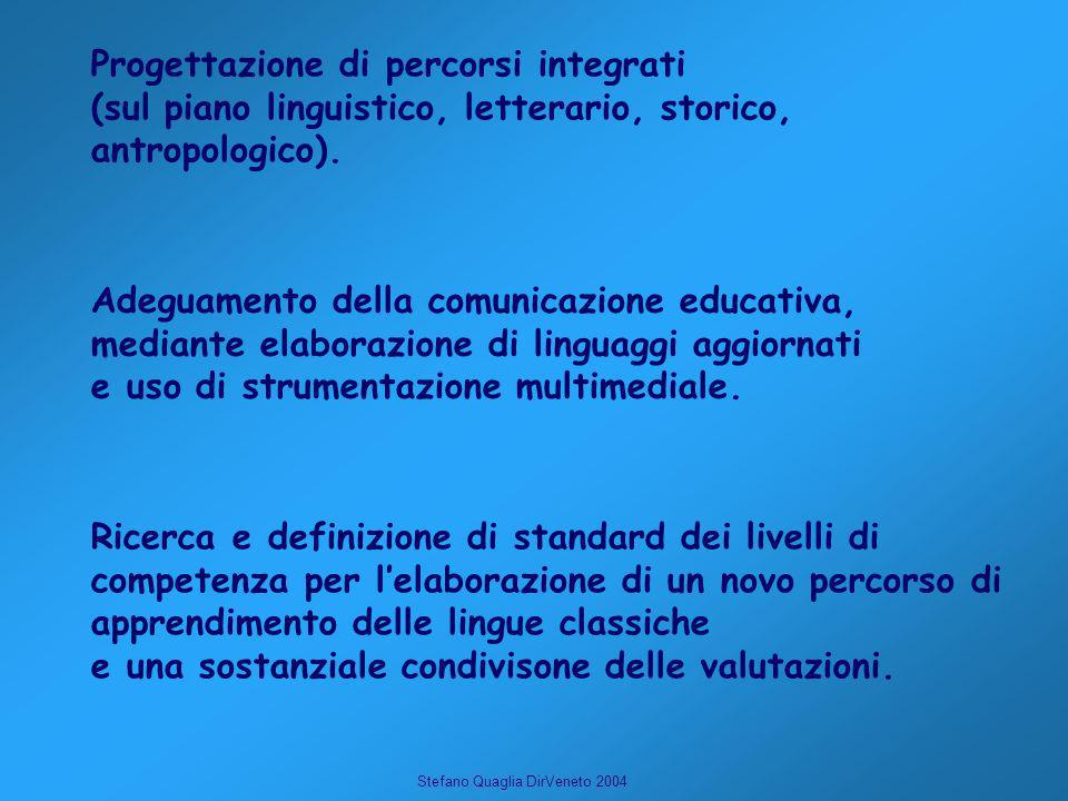 Stefano Quaglia DirVeneto 2004 Ricerca e definizione di standard dei livelli di competenza per lelaborazione di un novo percorso di apprendimento delle lingue classiche e una sostanziale condivisone delle valutazioni.