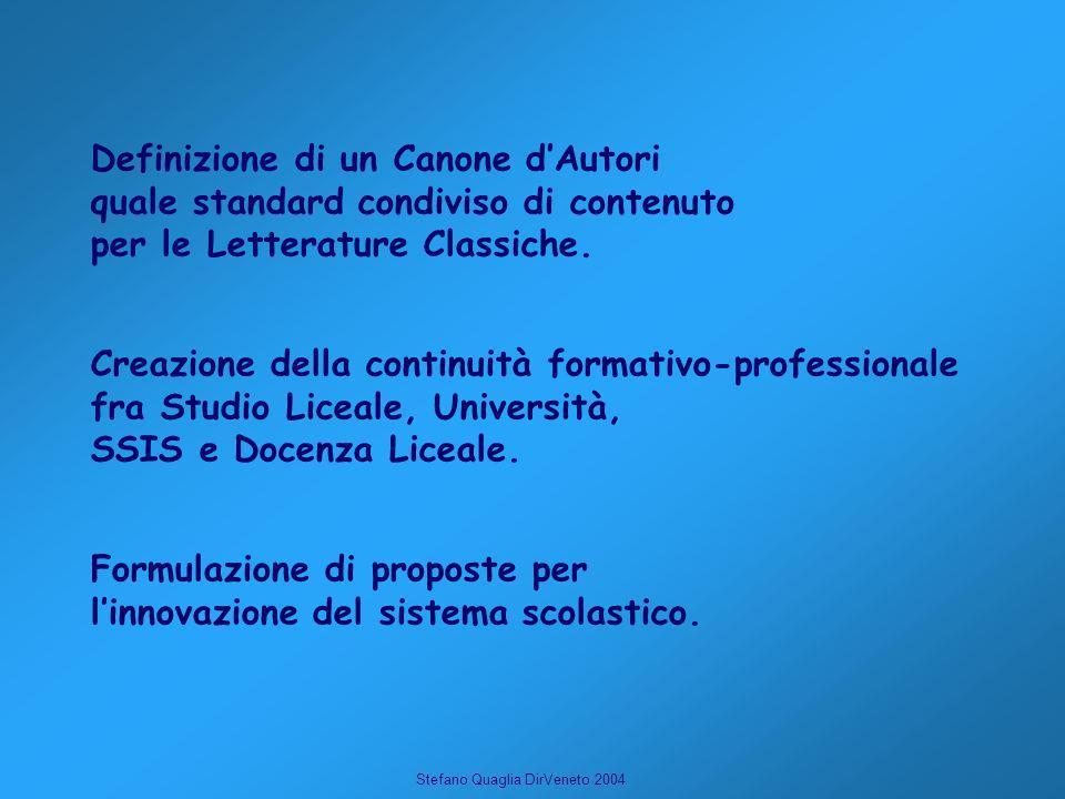 Stefano Quaglia DirVeneto 2004 Formulazione di proposte per linnovazione del sistema scolastico. Definizione di un Canone dAutori quale standard condi