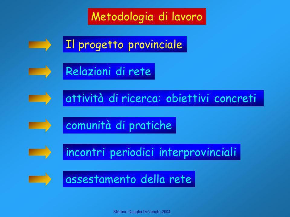 Stefano Quaglia DirVeneto 2004 Metodologia di lavoro Il progetto provinciale Relazioni di rete attività di ricerca: obiettivi concreti comunità di pra