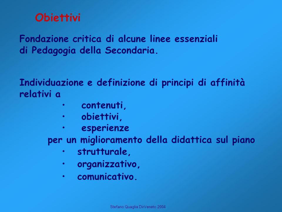 Stefano Quaglia DirVeneto 2004 Individuazione e definizione di principi di affinità relativi a contenuti, obiettivi, esperienze Fondazione critica di alcune linee essenziali di Pedagogia della Secondaria.
