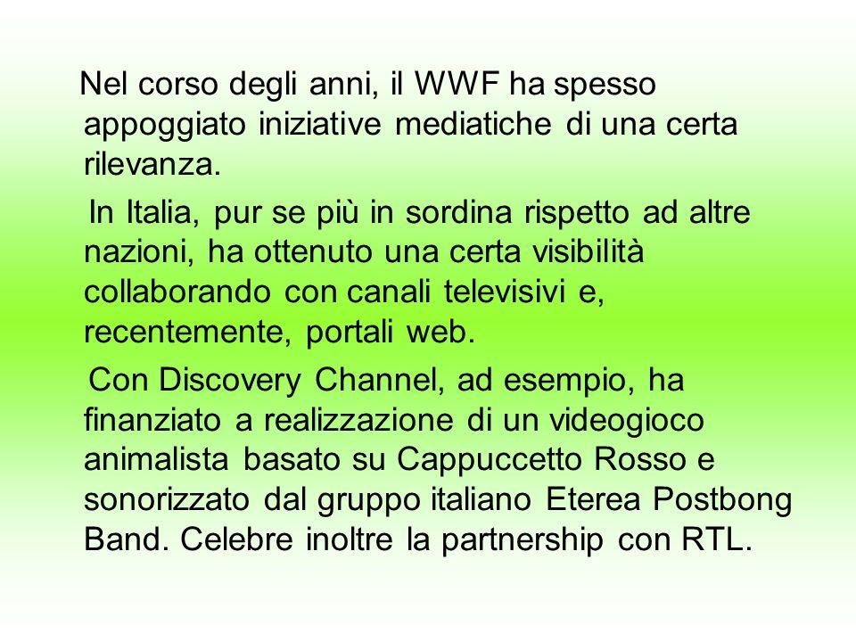 Nel corso degli anni, il WWF ha spesso appoggiato iniziative mediatiche di una certa rilevanza. In Italia, pur se più in sordina rispetto ad altre naz