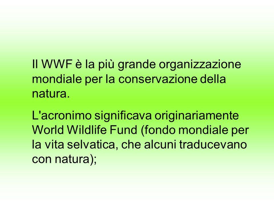Il WWF è la più grande organizzazione mondiale per la conservazione della natura. L'acronimo significava originariamente World Wildlife Fund (fondo mo