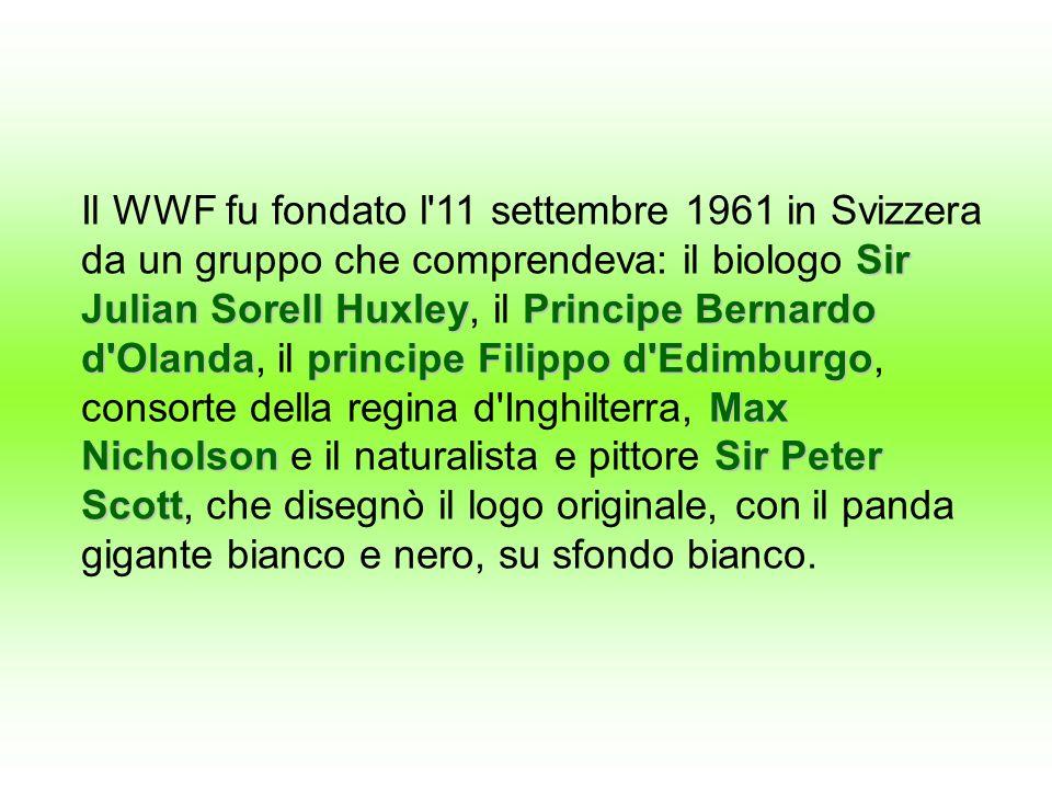 Il WWF fu fondato l'11 settembre 1961 in Svizzera da un gruppo che comprendeva: il biologo S SS Sir Julian S SS Sorell Huxley, il P PP Principe Bernar