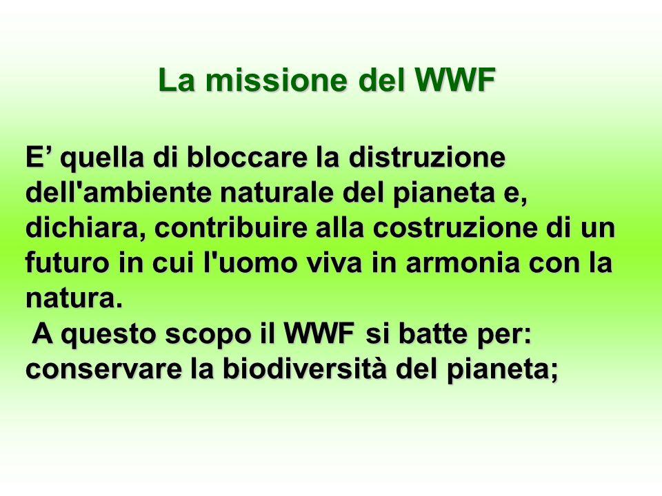 La missione del WWF E quella di bloccare la distruzione dell ambiente naturale del pianeta e, dichiara, contribuire alla costruzione di un futuro in cui l uomo viva in armonia con la natura.