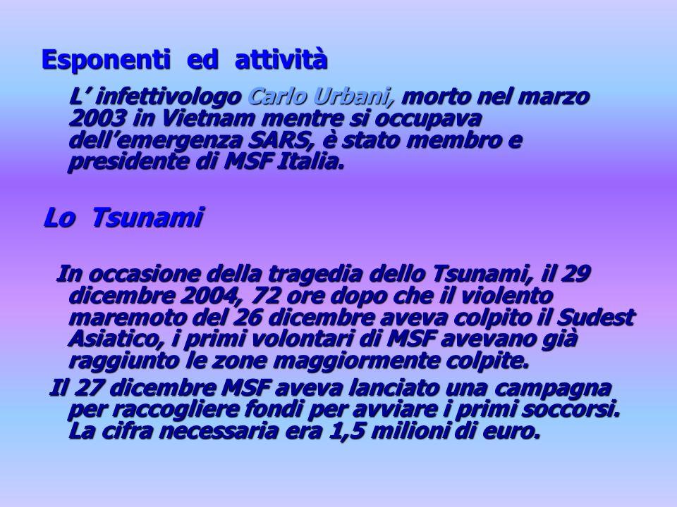 Esponenti ed attività L infettivologo Carlo Urbani, morto nel marzo 2003 in Vietnam mentre si occupava dellemergenza SARS, è stato membro e presidente di MSF Italia.