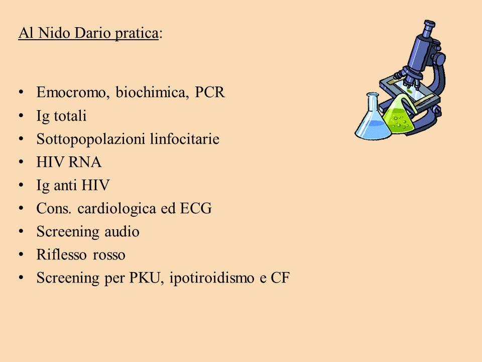 Al Nido Dario pratica: Emocromo, biochimica, PCR Ig totali Sottopopolazioni linfocitarie HIV RNA Ig anti HIV Cons. cardiologica ed ECG Screening audio