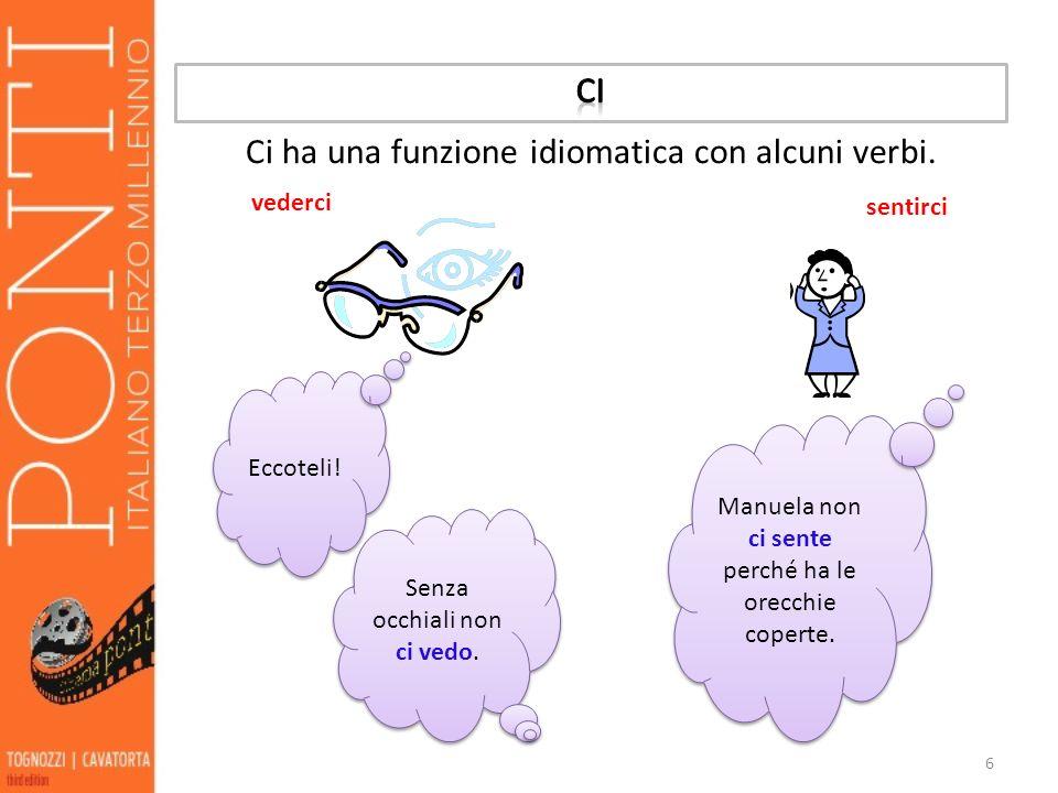 6 Ci ha una funzione idiomatica con alcuni verbi. vederci sentirci Eccoteli! Senza occhiali non ci vedo. Manuela non ci sente perché ha le orecchie co