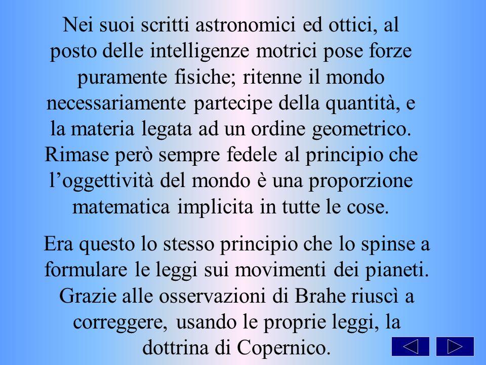 Nei suoi scritti astronomici ed ottici, al posto delle intelligenze motrici pose forze puramente fisiche; ritenne il mondo necessariamente partecipe della quantità, e la materia legata ad un ordine geometrico.