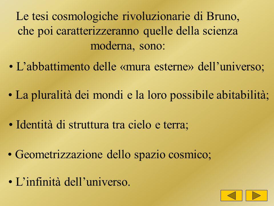 Le tesi cosmologiche rivoluzionarie di Bruno, che poi caratterizzeranno quelle della scienza moderna, sono: Labbattimento delle «mura esterne» delluniverso; La pluralità dei mondi e la loro possibile abitabilità; Identità di struttura tra cielo e terra; Geometrizzazione dello spazio cosmico; Linfinità delluniverso.