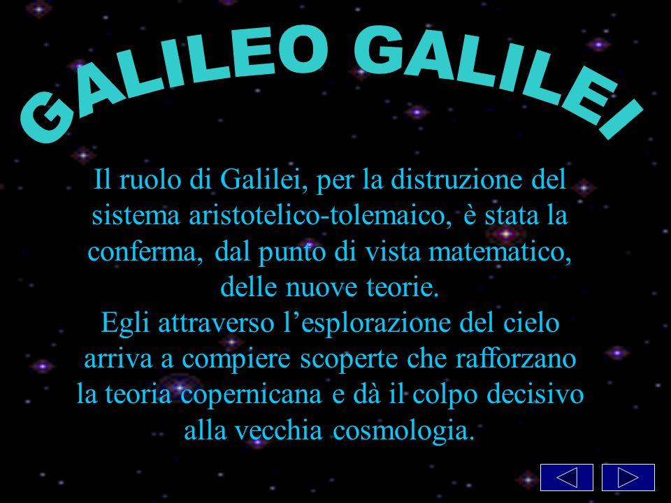 Il ruolo di Galilei, per la distruzione del sistema aristotelico-tolemaico, è stata la conferma, dal punto di vista matematico, delle nuove teorie.