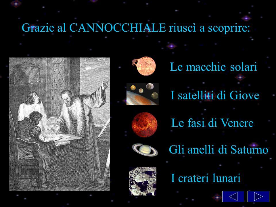 Grazie al CANNOCCHIALE riuscì a scoprire: Le macchie solari I satelliti di Giove Le fasi di Venere Gli anelli di Saturno I crateri lunari